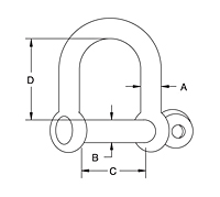 Dimensional Drawing for Screw Pin D Shackle
