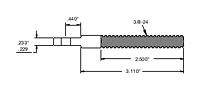 invisiware extended length threaded tab drawing