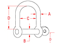 316 Stainless Steel Wide D Shackles with Screw Pin - 2