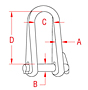 316 and 17-4 PH Stainless Steel Long Shackles with Key Pin - 2