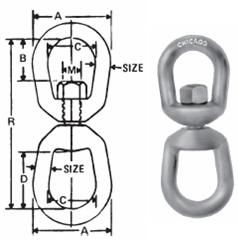 "New Galvanized Eye /& Eye Swivel chicago Hardware 215107 1-5//8/"" x 3//4/"" x C 1/"" D 1"