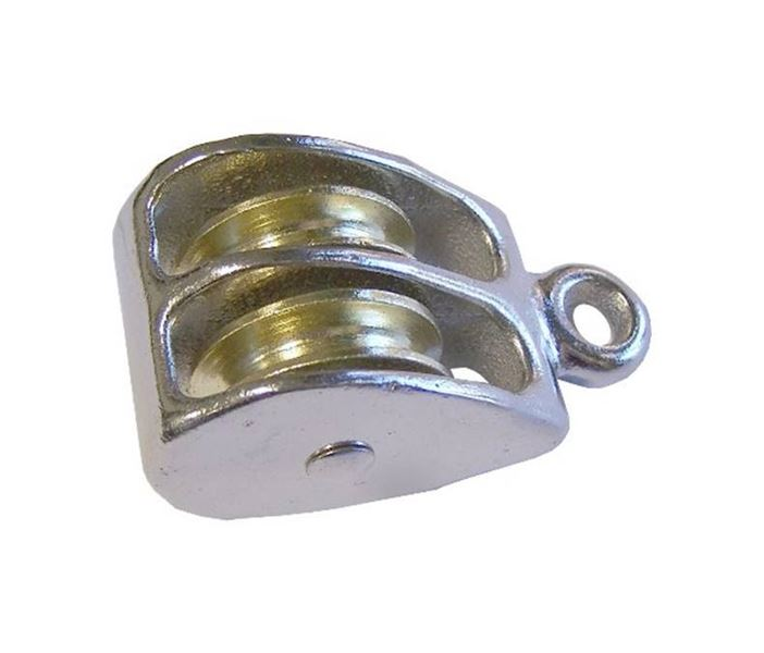 Item # 0176-3/4, Double Wheel - Solid Eye Pulley On Lexco Cable