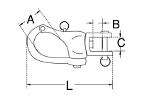 Dimensional Drawing for Jaw Swivel Snap Shackle