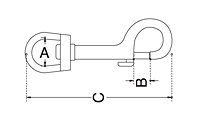 Dimensional Drawing for Swivel Eye Snap Hook (SS T316)