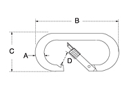 Dimensional Drawing for Oval Snap Hook with Screw Nut