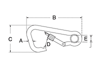 Dimensional Drawing for Asymmetrical Snap Hook with Screw Nut & Eyelet